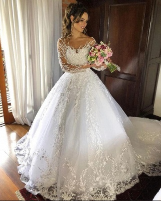 Princess Wedding Dresses With Sleeves | Lace wedding dress cheap online_2