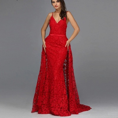 Elegant evening dresses long red | Evening wear with lace_3