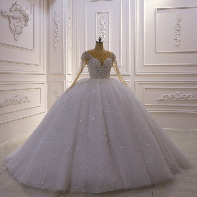 Weiße Brautkleider Prinzessin Glitzer | Hochzeitskleider mit Ärmel_2