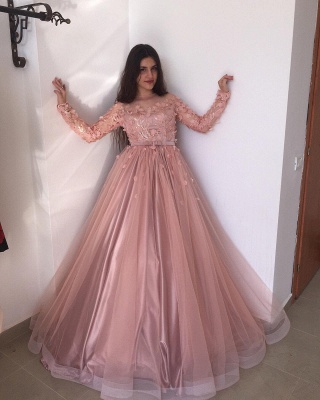 Evening dresses long pink | Prom dresses with sleeves_2