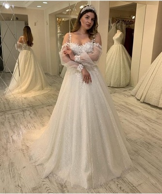 Gorgeous wedding dresses with glitter | Lace bridal A line_3
