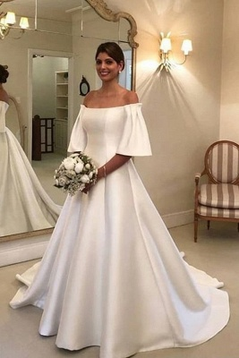 Simple wedding dresses A line | Wedding dress with sleeves_1