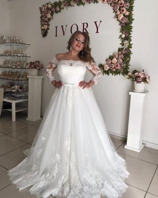 Prinzessin Hochzeitskleider mit Spitze | Brautkleid Lang Ärmel_3