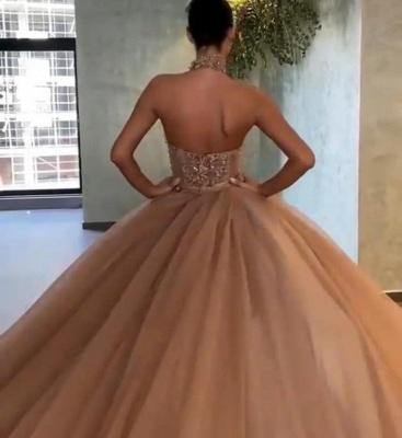 Elegante Abendkleider Lang | Abiballkleider Gold Glitzer_3