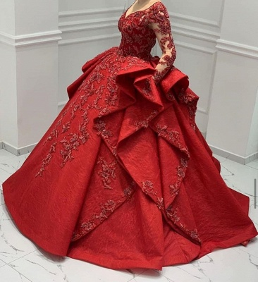 Designer Abendkleider Lang Rot | Abiballkleider Mit Spitze Ärmel_6