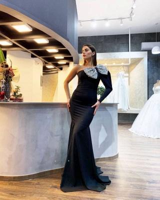 Evening dresses long black with sleeves | Elegant prom dresses online_2