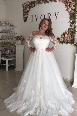 Prinzessin Hochzeitskleider mit Spitze | Brautkleid Lang Ärmel_1