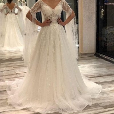 Designer wedding dresses with sleeves | Wedding dresses a line online_2
