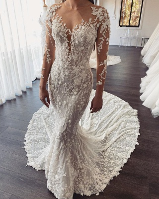 Designer wedding dresses mermaid with sleeves | Buy lace wedding dress online_1