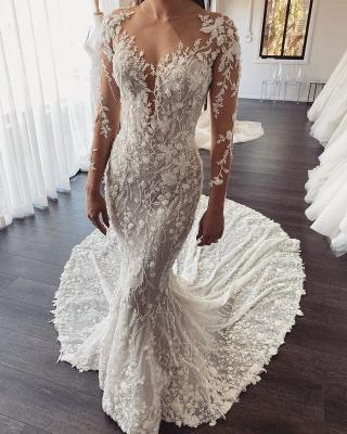 Designer Hochzeitskleider Meerjungfrau mit Ärmel | Brautkleid Spitze Online Kaufen_1