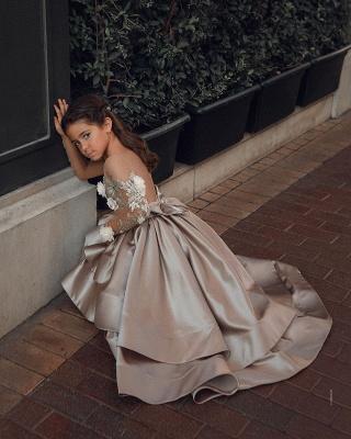 Champagne Blumenmädchenkleider mit Ärmel | Kinder Hochzeitskleider Online_5