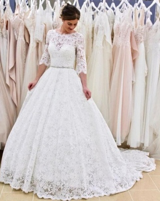 Modern wedding dresses with sleeves | Buy lace wedding dress online_3