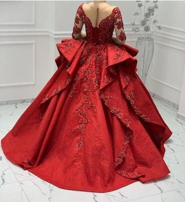Designer Abendkleider Lang Rot | Abiballkleider Mit Spitze Ärmel_3