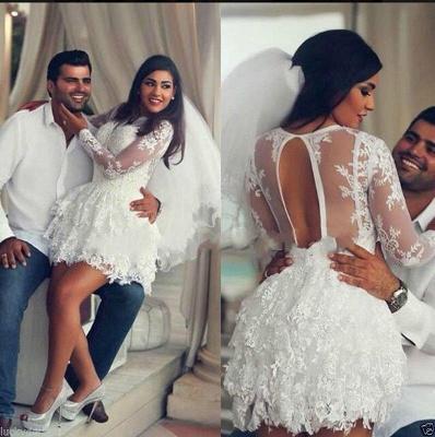 Cheap Wedding Dresses Short Princess Mini Wedding Gowns Lace Sleeves_2