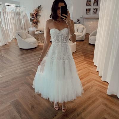 Elegante Brautkleider Kurz | Crema Hochzeitskleider Günstig Online_2