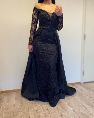 Evening dresses long with sleeves | Evening dress black_3