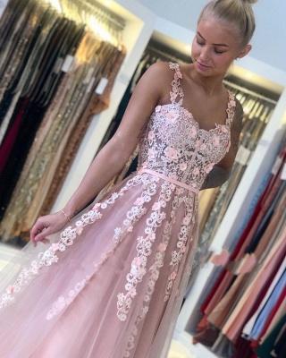 Wunderschöne Abendkleider Lang Rosa | Ballkleider mit Spitze_5