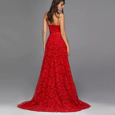 Elegant evening dresses long red | Evening wear with lace_4