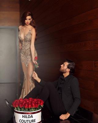 Elegante Abendkleider Lang Günstig | Abiballkleider V Ausschnitt mit Spitze_4