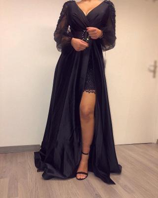 Elegante Abendkleider Lang Schwarz | Abiballkleider mit Ärmel_4
