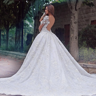 Luxury wedding dress with sleeves | Lace wedding dress A line_3