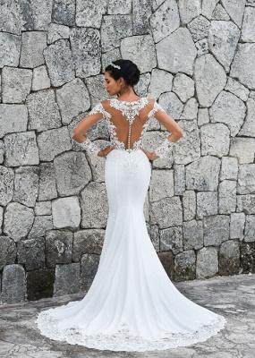 Schlichte Brautkleider Meerjungfrau | Spitze Ärmel Hochzeitskleider Online_3