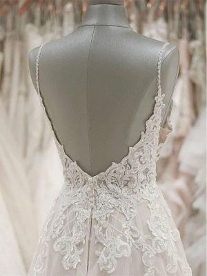 Schlichte Brautkleider A Linie Spitze | Hochzeitskleider Günstig_3