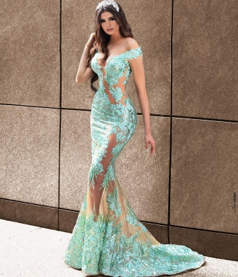 Elegant evening dresses long green | Prom dresses with lace_2