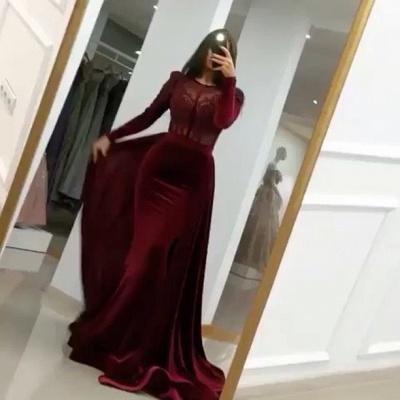 Weinrot Abendkleider mit Ärmel | Elegante Abendmoden Velvet Online_2