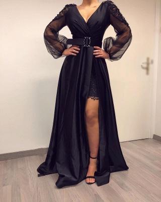 Elegante Abendkleider Lang Schwarz | Abiballkleider mit Ärmel_2