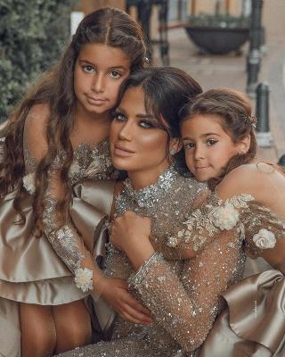Champagne Blumenmädchenkleider mit Ärmel | Kinder Hochzeitskleider Online_2