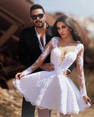 Designer Hochzeitskleider Kurz | Brautkleid Mini Mit Ärmel_2