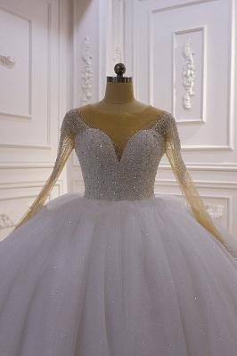 Weiße Brautkleider Prinzessin Glitzer | Hochzeitskleider mit Ärmel_3