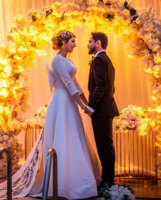 Schlichte Hochzeitskleider mit Ärmel | Brautkleid A Linie Satin_3