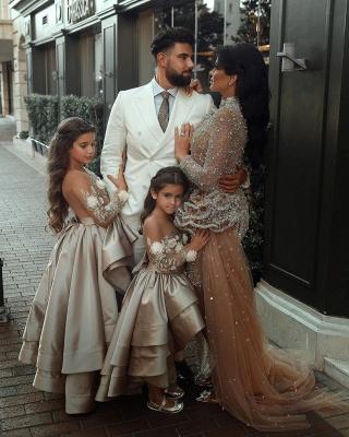 Champagne Blumenmädchenkleider mit Ärmel | Kinder Hochzeitskleider Online_3