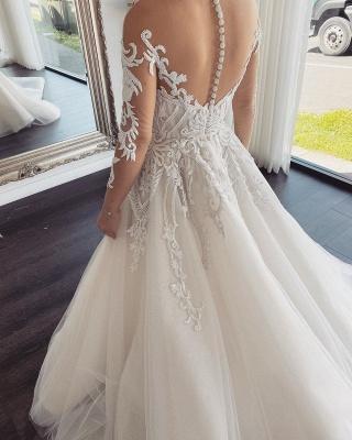 Elegante Brautkleider Mit Ärmel | Hochzeitskleider A Linie Online_2