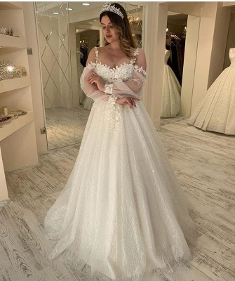 Gorgeous wedding dresses with glitter | Lace bridal A line_2