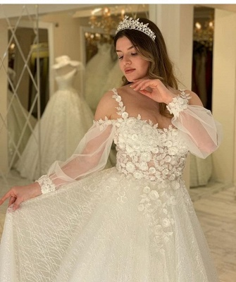 Gorgeous wedding dresses with glitter | Lace bridal A line_4