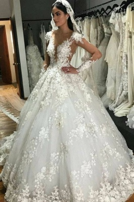 Luxury wedding dresses princess | Cheap bridal wear with lace_1