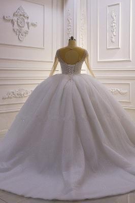 Weiße Brautkleider Prinzessin Glitzer | Hochzeitskleider mit Ärmel_4
