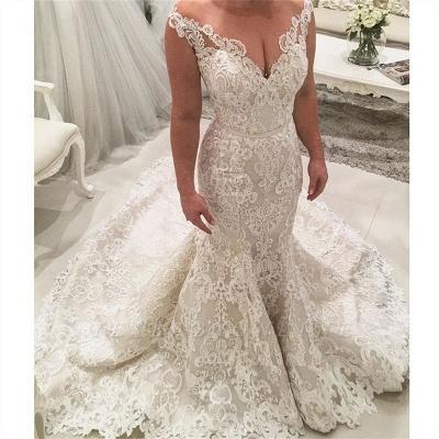 Brautkleid Meerjungfrau V Ausschnitt | Hochzeitskleider mit Spitze_2