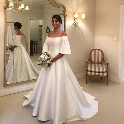 Simple wedding dresses A line | Wedding dress with sleeves_2