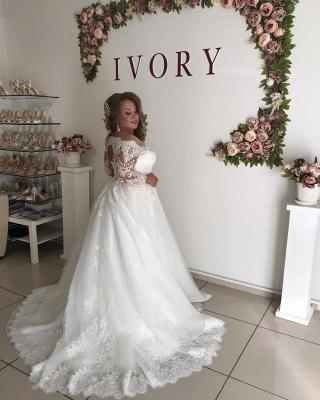 Prinzessin Hochzeitskleider mit Spitze | Brautkleid Lang Ärmel_2