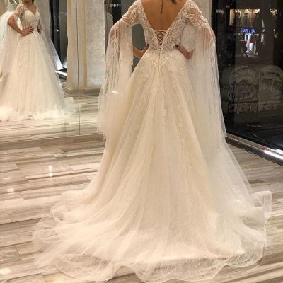 Designer wedding dresses with sleeves | Wedding dresses a line online_3