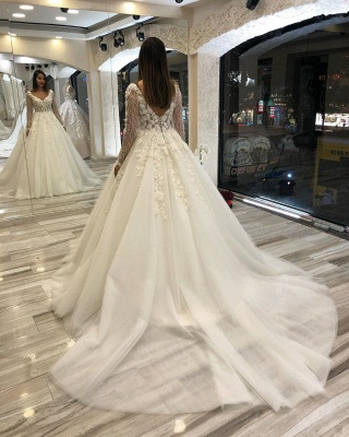 Fashion wedding dresses with sleeves | A line lace wedding dress_2