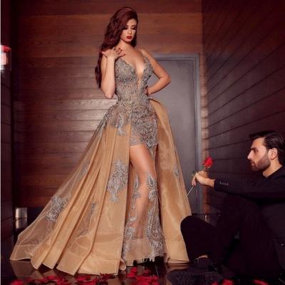 Elegante Abendkleider Lang Günstig | Abiballkleider V Ausschnitt mit Spitze_2