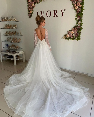 Modern wedding dresses with sleeves | Wedding dresses A line with lace_2