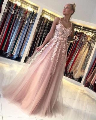 Wunderschöne Abendkleider Lang Rosa | Ballkleider mit Spitze_2