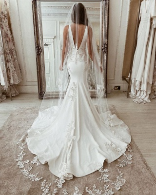 Designer wedding dresses mermaid | Registry office dresses with lace_3