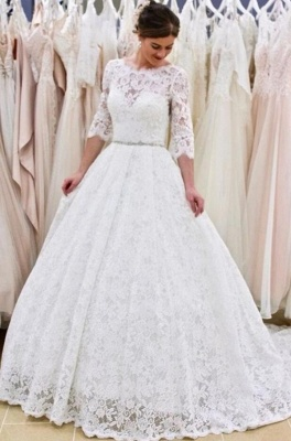 Modern wedding dresses with sleeves | Buy lace wedding dress online_1